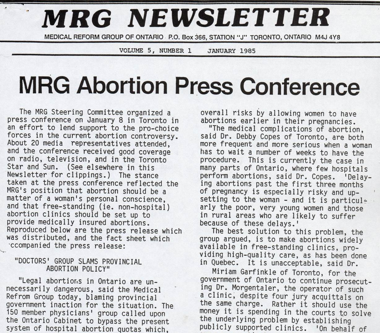 Medical Reform Group Newsletter, January 1985.