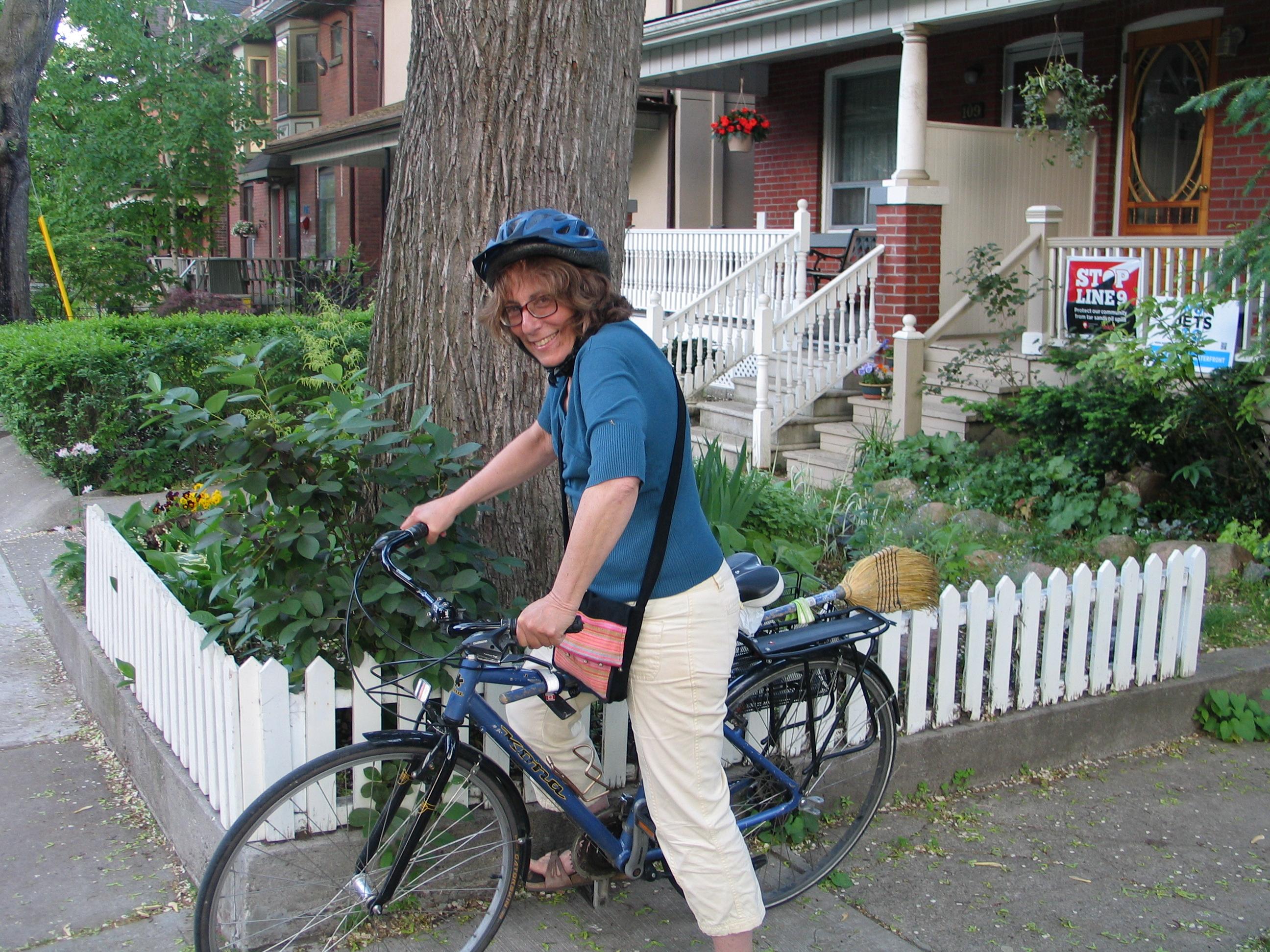 Miriam Garfinkle on her bike: Photo by Ulli Diemer.