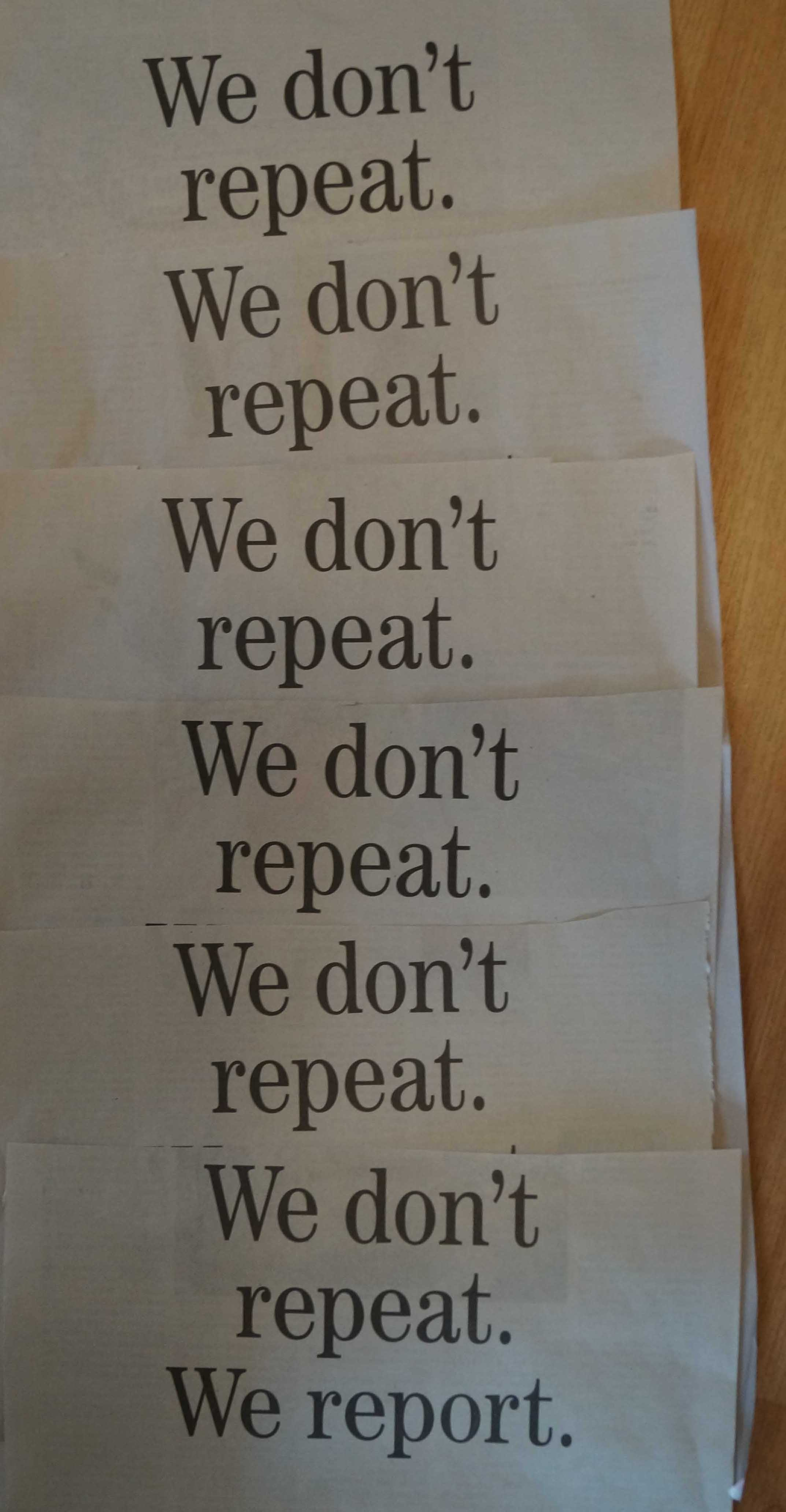 Toronto Star: We don't repeat